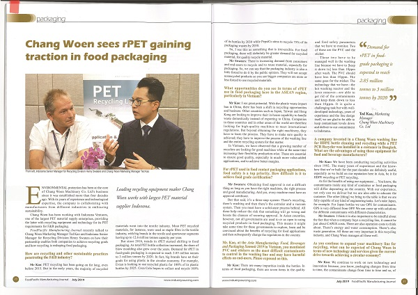 Interview Article in FoodPacific Manufacturing Journal July 2019